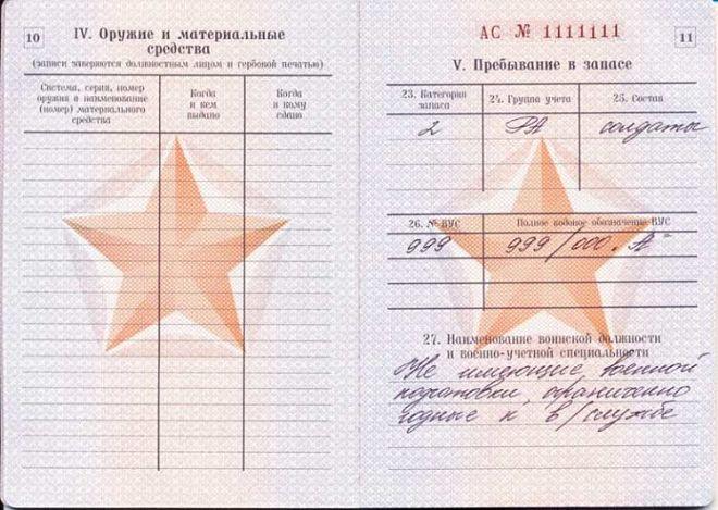 Страница пребывания в запасе в военном билете