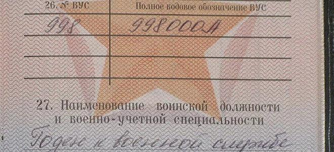 Номер ВУС военном билете